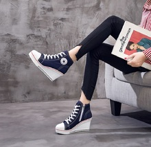 Купить с кэшбэком New Fashion Women Shoes Canvas Round Toe Boots Black/Red/White/Blue/Pink Zip Shoes Classic Women Shoes She ERA