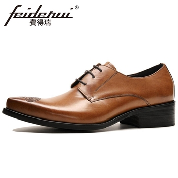 New Fashion Genuine Leather Men's Handmade Derby Luxury Oxfords Pointed Toe Laces Man Formal Dress Bridal Office Shoes BQL233