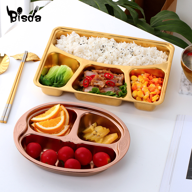 1Pc Dinner Plate Gift Flatware Gold Fruit Dishes Saucer Tray Tableware Set Candy Dessert Dish Rectangle Oval Plates Canteen Tool