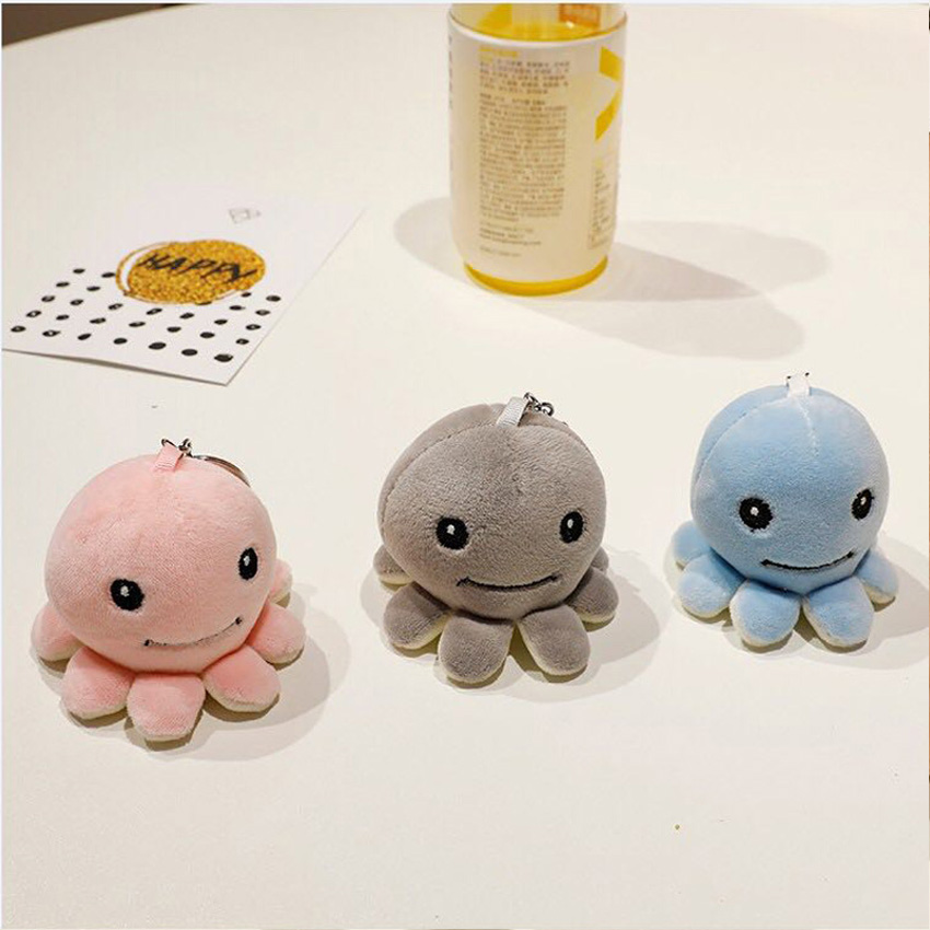 Octopus keychain little small 6cm octopus Plush Stuffed TOY Key Ring DOLL ; Gift Decoration Pendant TOY Children boys girls Gift