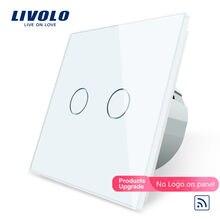 Livolo – interrupteur mural tactile à distance avec indicateur LED, C702R-1/2/5, Standard ue, panneau en verre cristal, pour éclairage