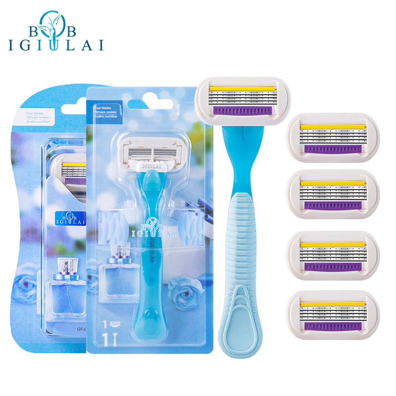 IGIULAI Shaving Razor For Women Manual 4 Layers Stainless Steel Razor Blades Replacement Heads For Safety Female Body Care