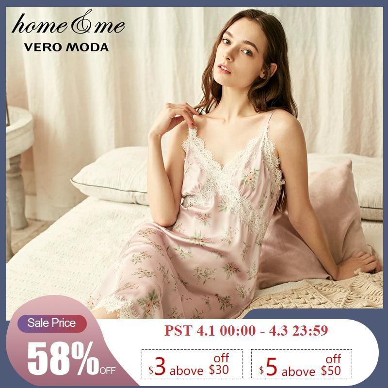 Vero Moda New Women's Laced Slip Floral Night Dress | 31917A511