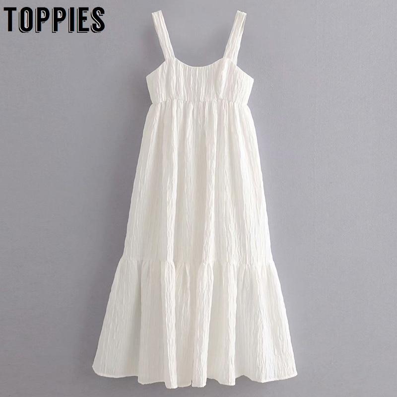 White Sundress Womens Camisoles Midi Dress Sexy Sleeveless Spliced Ruffles Summer Dress Vestidos