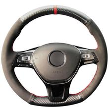 for volkswagen vw new polo new jetta 2016 multi function steering wheel audio control buttons Carbon Fiber Leather Black Suede Steering Wheel Cover for VW Golf 7 Mk7 New Polo