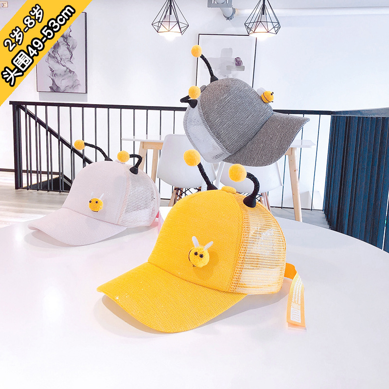 49 53cm 2y 8y bee tentacles cartoon mesh hat private curved eaves baseball cap boys hats baby girl hats boy hat kids hats in Hats Caps from Mother Kids