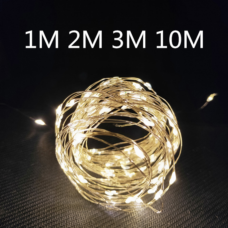 2M 3M Copper Silver Wire LED Garland String Lights Waterproof Holiday Lighting for Fairy Christmas Tree Wedding Party Decoration