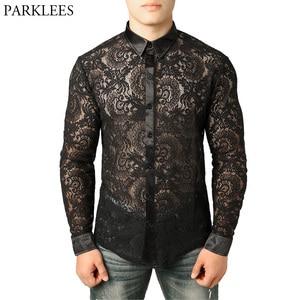 Image 1 - Mens Mesh Fishnet Clubwear Shirts 슬림 피트 롱 슬리브 섹시한 레이스 셔츠 남성 파티 이벤트 Prom Transparent Chemise 2XL