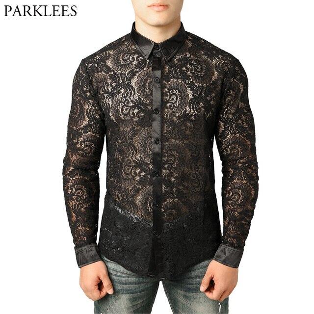 Mens Mesh Fishnet Clubwear Shirts 슬림 피트 롱 슬리브 섹시한 레이스 셔츠 남성 파티 이벤트 Prom Transparent Chemise 2XL