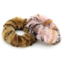 1pcs Artificial Rabbit Pompom Fur Elastic Hair Bands Animal Print Ties Gum Women Leopard Rubber Accessories