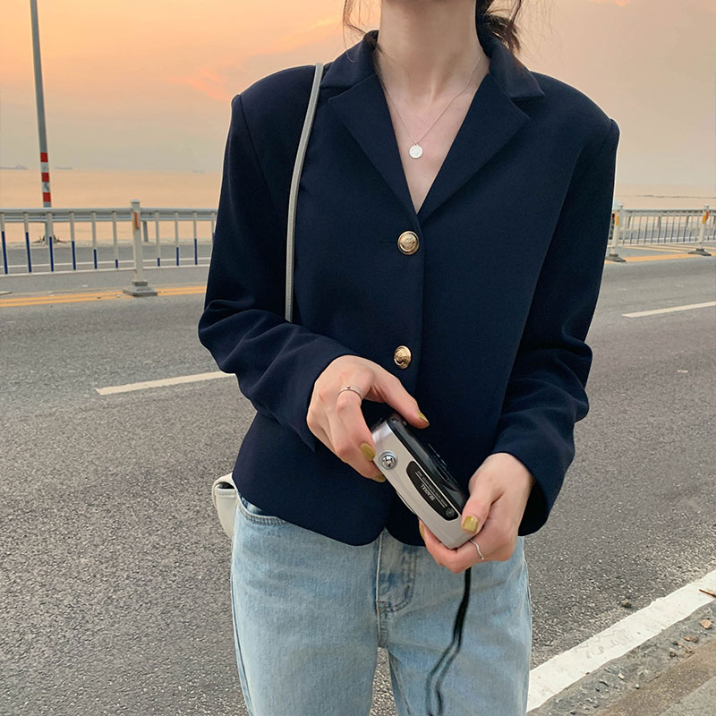 2 Colors 2019 Korean Style V Neck Slim Blazer Jacket Long SLeeve Notched Coat Woman Causal Blazers Womens (X1056)