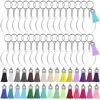120 قطعة زخرفة الاكريليك الفراغات عدة مع 30 قطعة الفراغات الاكريليك + 30 قطعة المفاتيح شرابات ملونة + 30 قطعة مفتاح سلسلة حلقية + 30 قطعة Ju