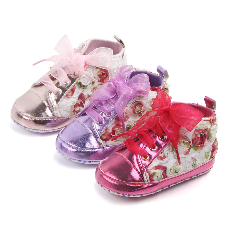 New FLORAL Classic Sports Sneakers Newborn Baby Boys Girls First Walkers Shoes Infant Toddler Soft Sole Anti-slip Baby Shoes