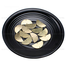 20-1000 Pcs Brass Half Circle Charm Finding Wholesale Smooth Plain Engraving Stamping Tag Semi Circle Metal Component (2 Holes)