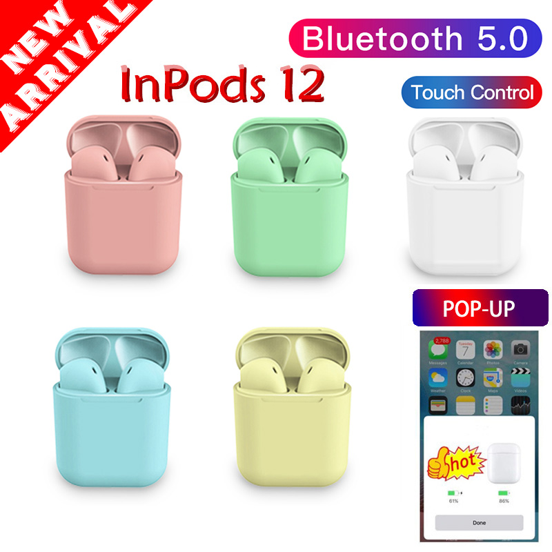 pop up Inpods <font><b>12</b></font> Bluetooth Earphone 5.0 Wireless Headphone Sport Earbud <font><b>TWS</b></font> Headset Touch Control For Phone dropshipping image