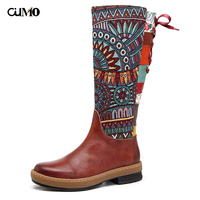 [Ou Mo] brand Genuine Leather women's Boots Mid Calf High Boots Handmade Bohemian warm boots Creative embroidery leather shoes