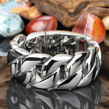 31MM Wide Shiny Cuba Big Bracelet Men Cool Punk Stainless Steel Jewelry Fashion Men's Bracelets & Bangles Hand Thick Chain(China)