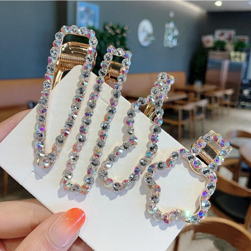Female Glitter Hair Clip Rhinestone Geometric Hair Accessories Gorgeous Sparkly Hairpins Sweet Girl Headwear Barrettes