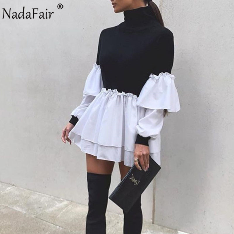 Nadafair Puff Sleeve Sexy Mini Kleid Frauen Casual Party Rippe Shirt Patchwork 2021 Frühling Langarm Wrap A-Line Frau Kleid