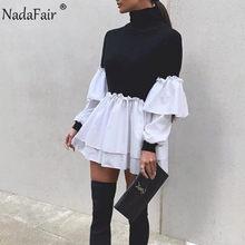 Nadafair informal-Vestido corto de manga larga para mujer, minivestido Sexy para fiesta, retales, primavera 2021