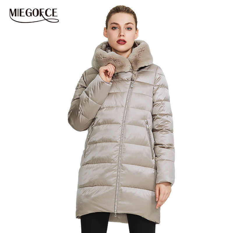 MIEGOFCE 2019 Winter vrouwen Collection vrouwen Warme Jas Jas Winter Winddicht Stand-Up Kraag Met Kap en konijnenbont Parka