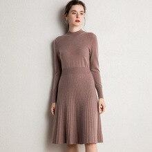 Женское платье 100% козий кашемир вязаный пуловер зима Новая мода Длинные платья для женщин Чистый пашмины трикотаж 6 цветов платье для девочек