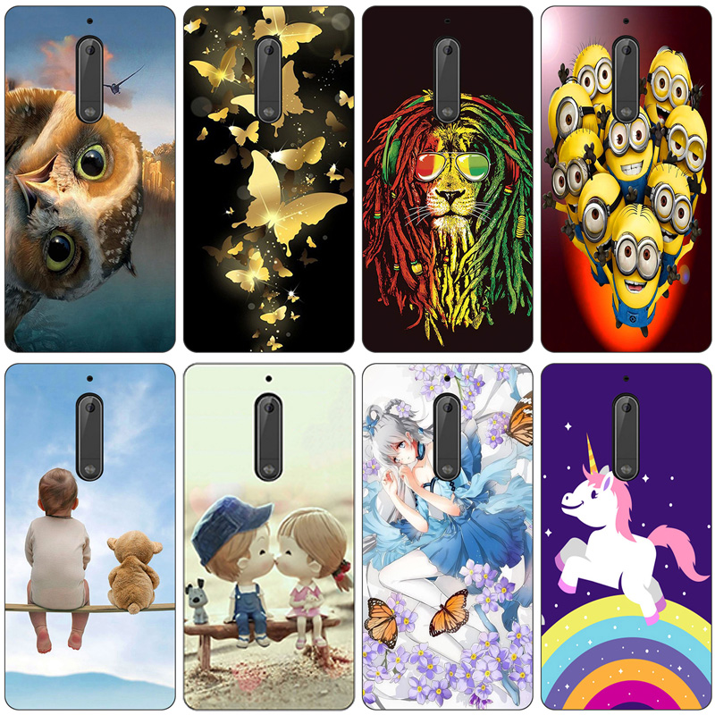 FOR Capa <font><b>Nokia</b></font> 5 Case 5.2 inch Cartoon Drawing Painting Cover FOR <font><b>Nokia</b></font> 5 Soft TPU Silicone Shells For Nokia5 TA-<font><b>1053</b></font> Phone Case image