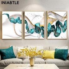 Pósteres de pintura en lienzo nórdico abstracto, imágenes artísticas de pared únicas para decoración de sala de estar y dormitorio, Color azul y dorado