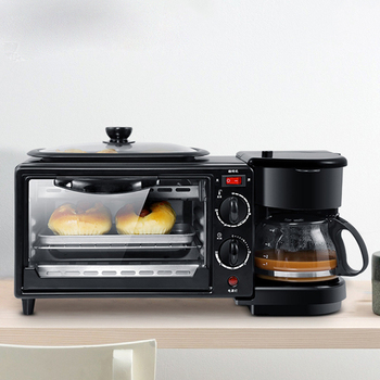 Multi-functional Fully automatic household coffee machine electrical bread breakfast machine 3 in 1 maker bake oven fried egg