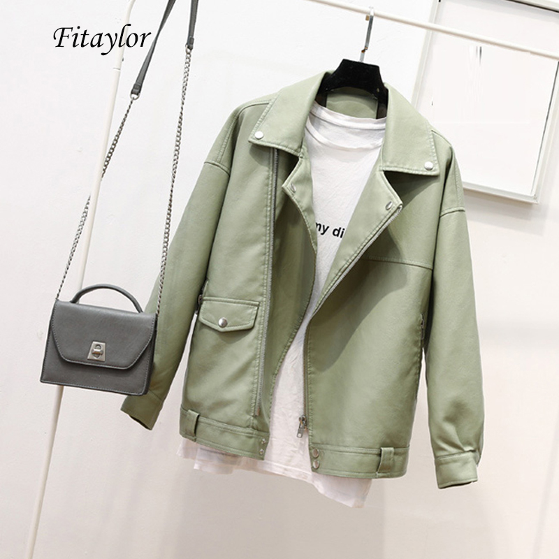 Fitaylor Autumn Faux Soft Leather Pu Jacket Women Loose Punk Coat Female Turndown Collar Moto Biker Rivet Zipper Street Overcoat