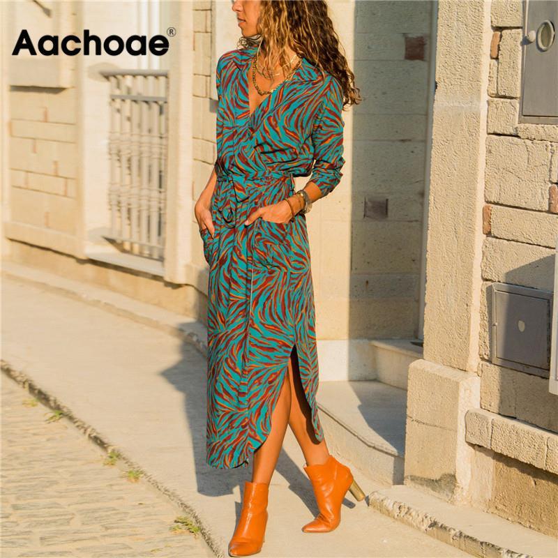 Aachoae Women Long Dress Floral Print Summer Maxi Bohemian Beach Dress Party Dress Long Sleeve Office Shirt Dress Vestidos Longo
