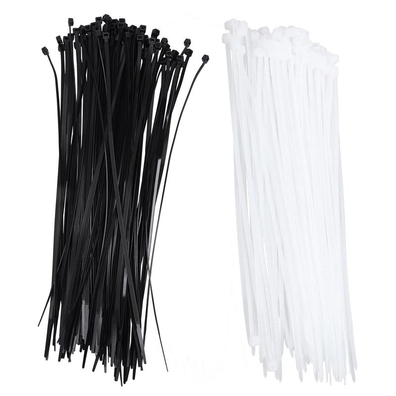 O envoltório do fecho de correr de 200 pces ata o cabo cintas o gancho plástico que trava o náilon principal, cor: branco tamanho: 4x200mm & cor: preto siz