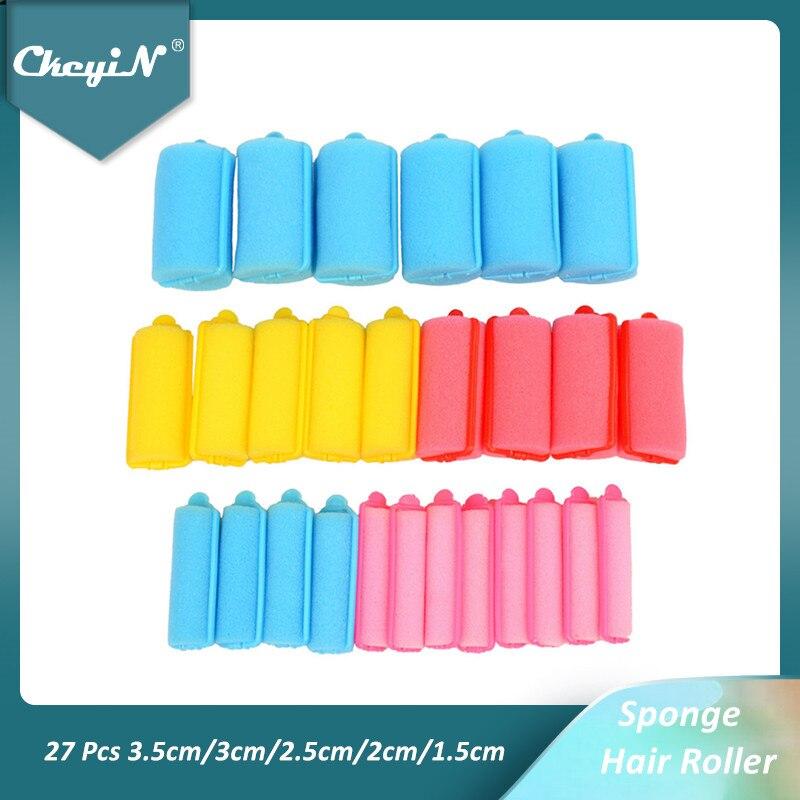 CkeyiN 27 Pcs Soft Sponge Hair Roller Flexible Foam Hair Styling Curlers Colorful Hairdressing Curling Tools 3.5cm/3cm/2.5cm/2cm