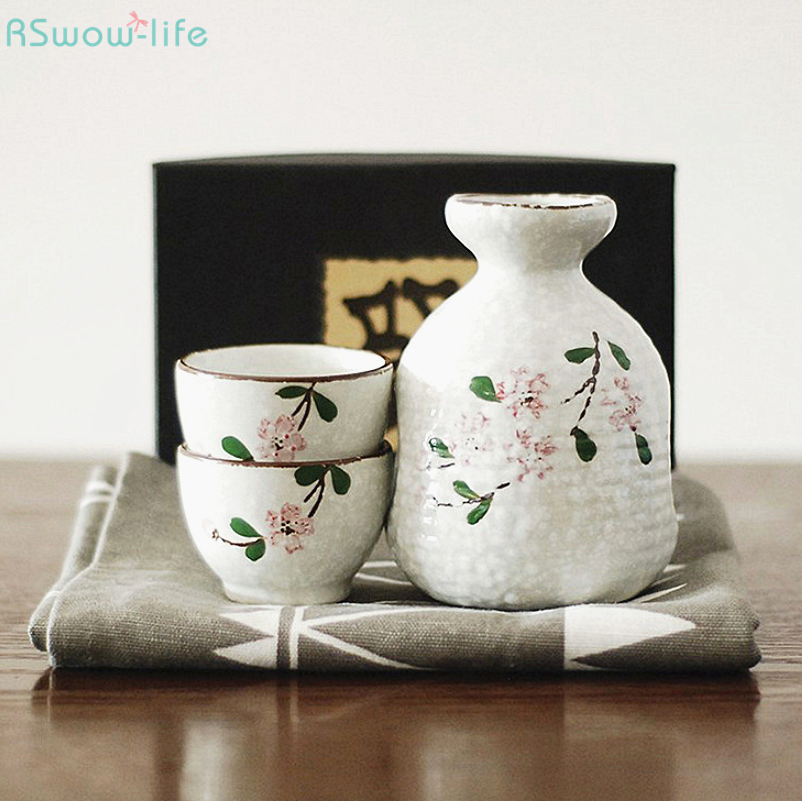 Japanese Style Impression Ceramic Cherry Blossom Series One Pot Two Cups Wine Set High Temperature Unglazed Colored Sake Bottle image