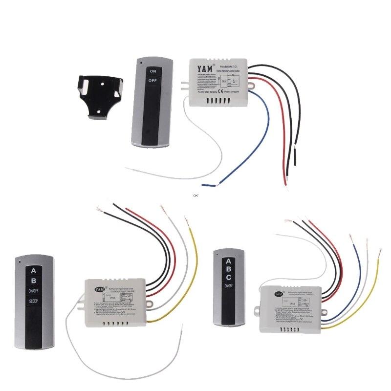 Беспроводной 1 канал 2 канала 3 канала на включение/выключение лампы дистанционного Управление переключатель приемник передатчик Прямая до...