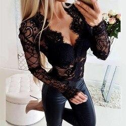 Pop Tij Mooie Vrouwen Fashion Elegante Playsuit Herfst Sexy Patchwork Lange Mouwen Bodysuit Slim Hollow Out Lace Jumpsuits