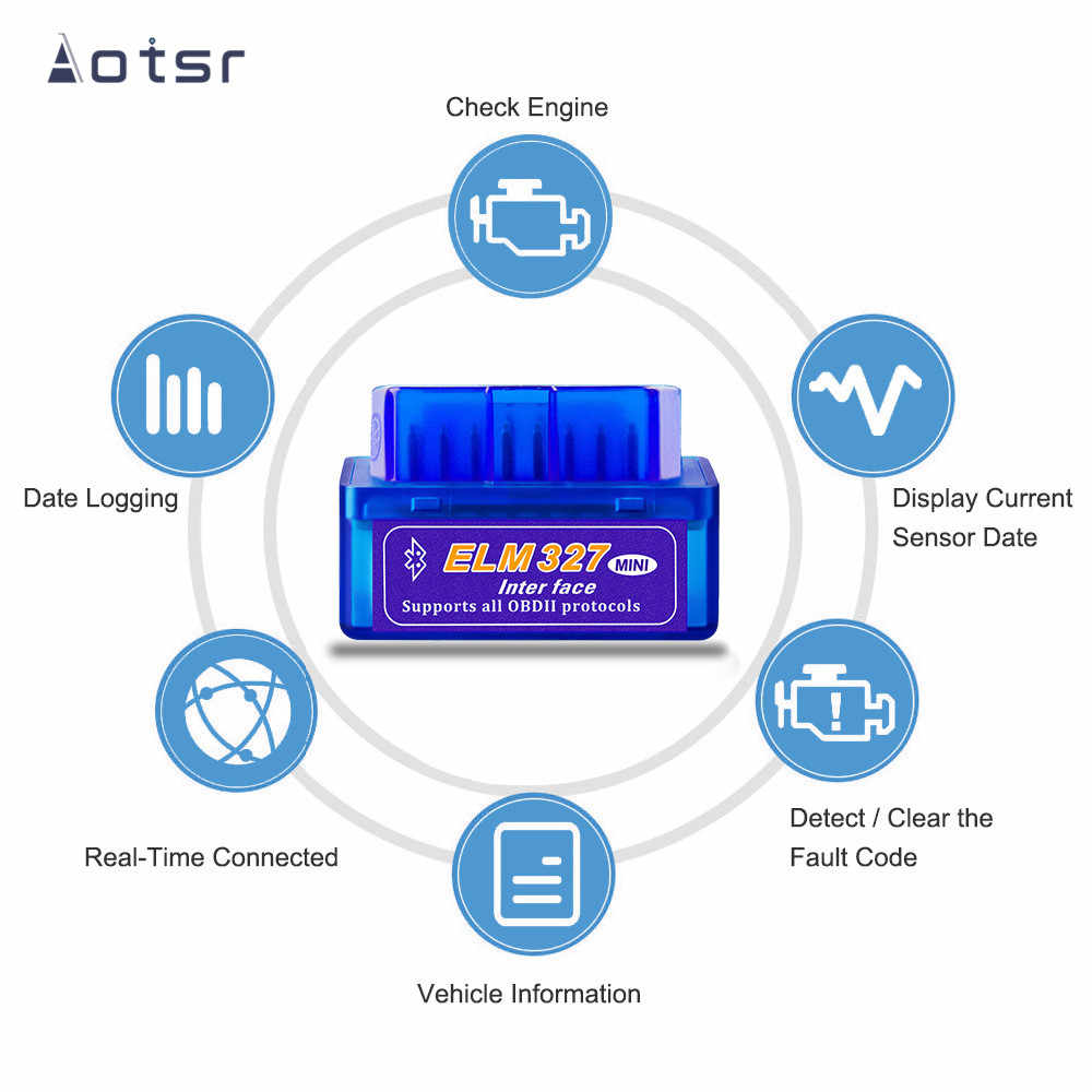 Aotsr V2.1 Versione OBD2 Scanner Elm 327 Mini Interfaccia Bluetooth Auto Strumento Diagnostico V 2.1 OBD 2 Per Android Auto radio Coche