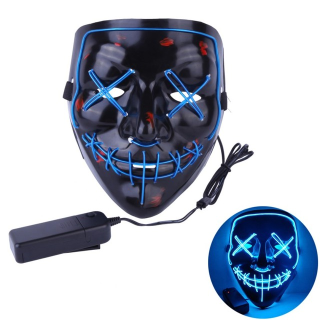 Halloween LED Light Up Mask The Purge Election Year Great Funny Festival Cosplay Party Masks Glow In Dark Dropshiping