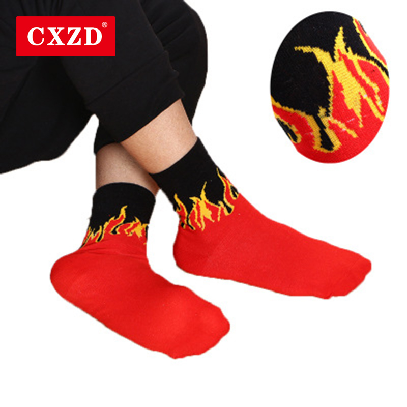 CXZD Men Fashion Hip Hop Hit Color On Fire Crew   Socks   Red Flame Blaze Power Torch Hot Warmth Street Skateboard Cotton Long   Socks