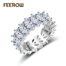 FEEHOW Trendy Womens Jewelry Hand Made Cubic Zirconia Olive Branch Ring for Women & Men White Gold Color Fashion Rings FWRP2020
