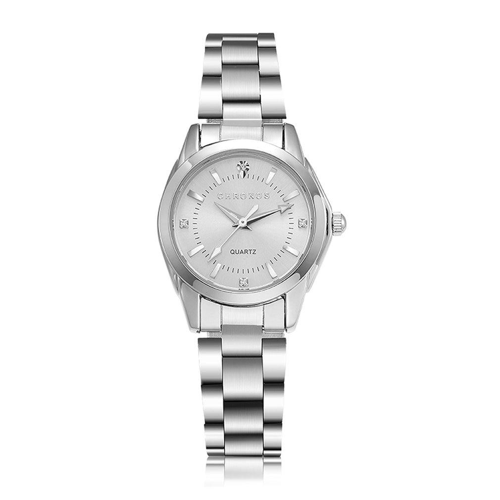 CHRONOS Female Daily Waterproof Quartz Movement Wrist Watches Business Watch Pointers Wrist Clock Stainless Steel Watchband