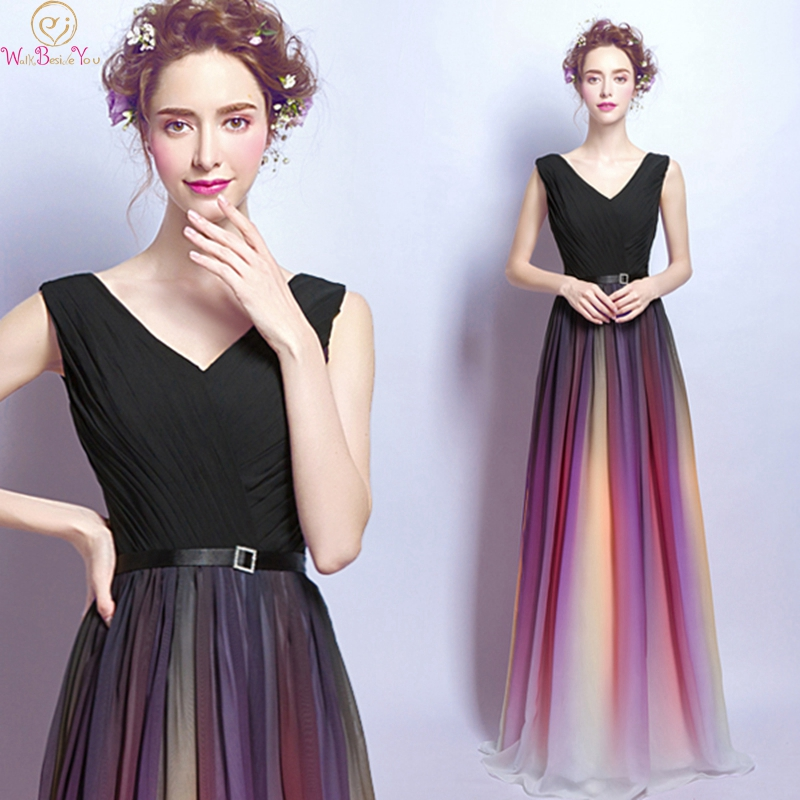 Black V-Neck Sleeveless A-Line Prom Dresses 2019 New Gradient Rainbow Long Robe De Soiree Formal Party Lace Up Evening Gowns