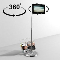 360 Degree Rotatable Foldable Universal Multi direction Tablet Floor Stand With Magazine Basket Mount Holder Bracket For Ipad