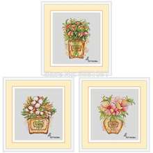 Perfume bottle flower patterns counted cross stitch 11ct 14ct