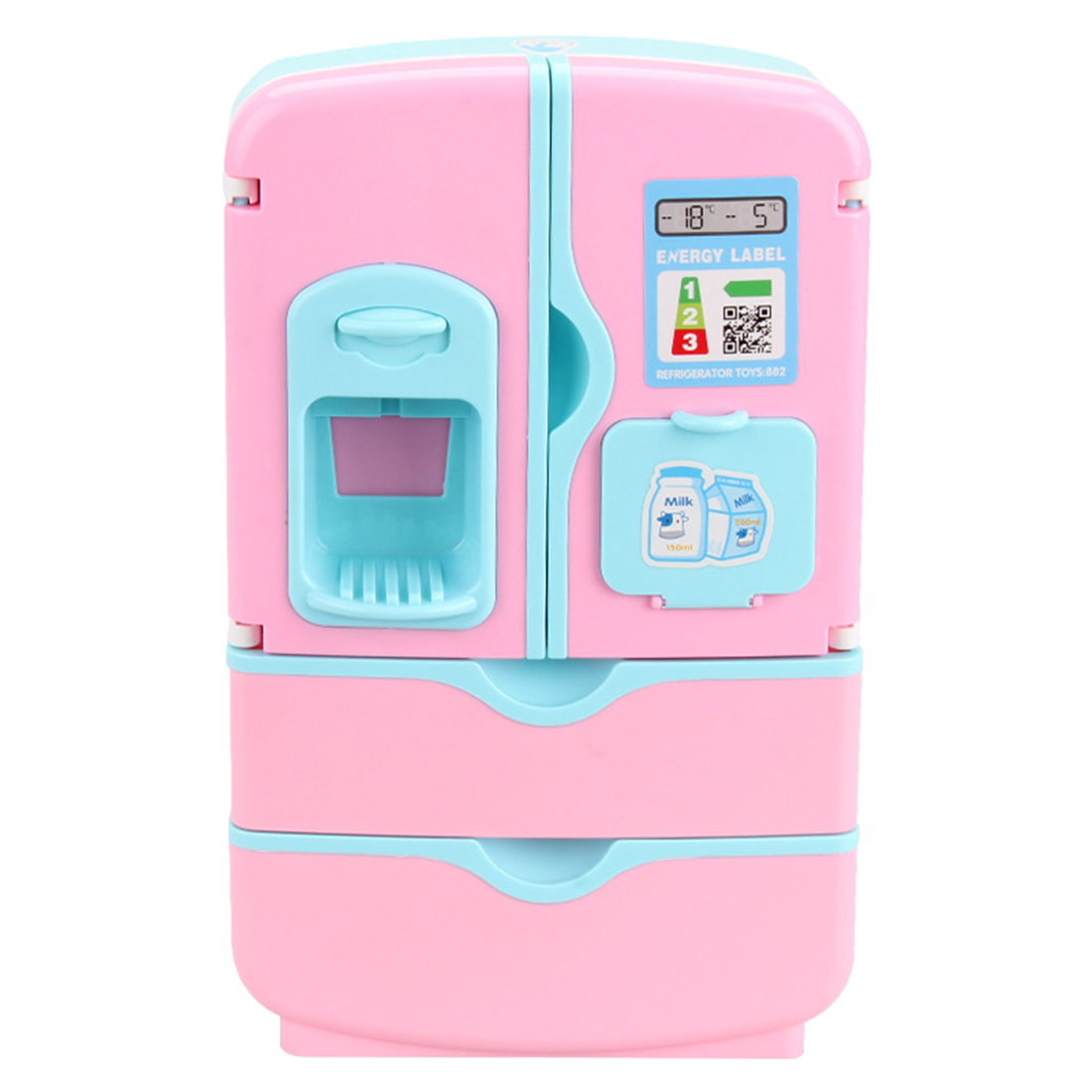 12Pcs/set Kids Double Door Role Play Fridge Toy Touch Sensitive Magic Refrigerator Educational Home Appliance Toy - Pink