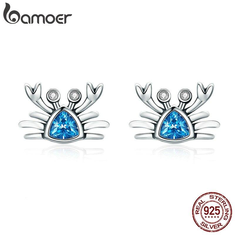BAMOER 100% 925 Sterling Silver Cute Ocean Crab Small Blue CZ Stud Earrings For Women Fashion Earrings Jewelry Gift S925 SCE413