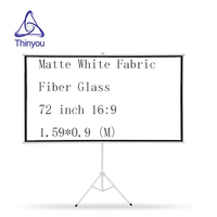 Thinyou Matte White Fabric Fiber Glass Bracket Screen 72 inch 16:9 Gain Portable Pull Up Projector Screen Stable Stand Tripod