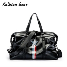 KUDIAN BEAR Large Capacity Men Travel Bags Hand Luggage PU Leather Black Waterproof Men's Duffle Bags Fashion BIX309 PM49