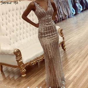 Image 5 - Silber Luxus Tiefe V Sexy Abendkleider 2020 Backless Pailletten Diamant Meerjungfrau Formale Kleid Ruhigen Hill LA70228