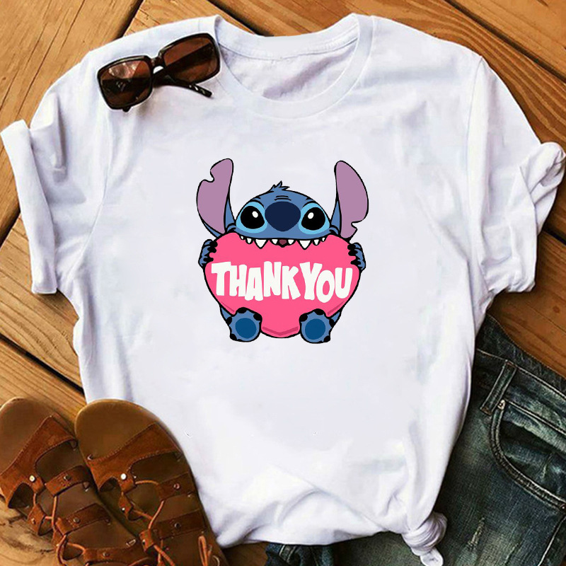 Graphic Women Cartoon Pocket Funny T-Shirt Lilo Stitch  Female Print Fashion T Shirt Casual Top